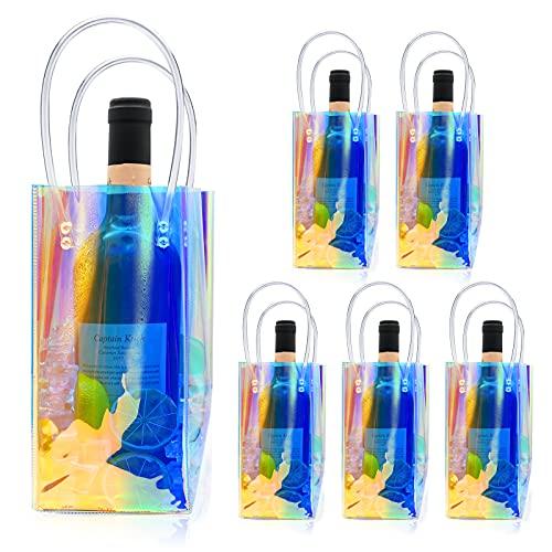 Gukasxi 6 bolsas de vino de hielo portátil plegable de PVC bolsa enfriador con mango para champán, cerveza fría, vino blanco, bebidas heladas, color láser
