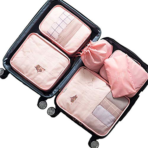 Travel Packing Organizers,Mossio 6 Set Suitcase Cubes Camping Weekender Set Light Pink