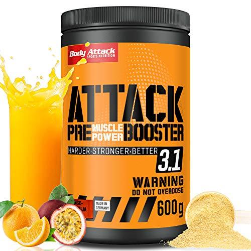 Body Attack Pre Workout Booster – Extrem hochdosierter Workout-Booster für alle Sportler & Athleten – speziell entwickelt für Bodybuilding, Kraftsport und Fitness (Orange-Maracuja)