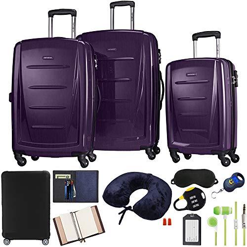 Samsonite 56847-1717 Winfield 2 Fashion Hardside 3 Piece Spinner Set - Purple Bundle w/Luggage Accessory Kit (10 Item)