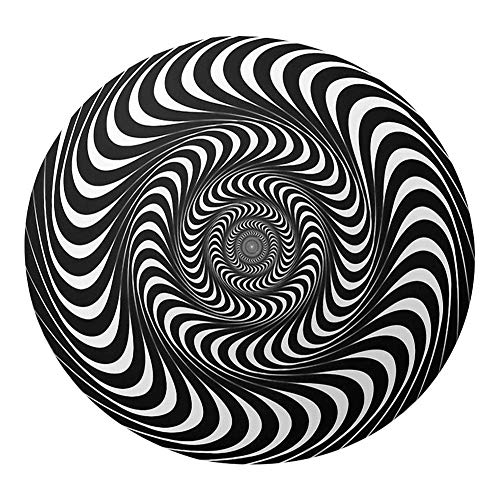 likeitwell 3D Swirl Print Optical Illusion Rug Carpet,Floor Pad Non-Slip Doormat Mats, Nordic Style Indoor Modern Area Rugs for Home Bedroom Living Room (120×120cm)