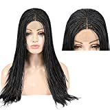 Micro Braided Wigs Braids Hair Lace Front Wig Full Hand Million Braids Hair Wig Black Hair 180% Density Fine ultra-fine braided hair Middle Part for Women