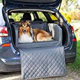 CopcoPet Travel Bed/Hunde-Reisebett aus Kunstleder/Hunde-Autobett/Wasserabweisende Tiermatratze/Hundebett mit Decke als Kratz- und Schmutzschutz (XL ca. 110 x 90 cm, Grau)