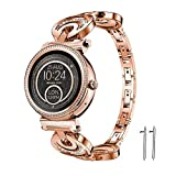 Lamshaw Quick Release Smartwatch Band for Michael Kors Access Sofie, Crystal Rhinestone Diamond Jewelled Stainless Replacement Band for MK Access Smartwatch Sofie (Diamond-Rose Gold)