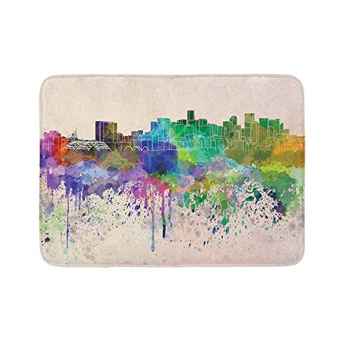 Laglacefond Denver Bath Mat Handmade Like Art Illustrated Along Paint Colorful Strokes and Skyline Drawing Plush Bathroom Decor Mat with Non Slip Backing Multicolor