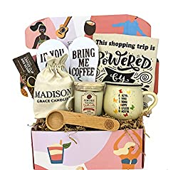 Image: Coffee Lover Gift Set for Mother by Silly Obsessions. Birthday Basket Box for Mom, Wife. Coffee Themed gifts for New Moms, Baby Shower | Brand: SILLY OBSESSIONS