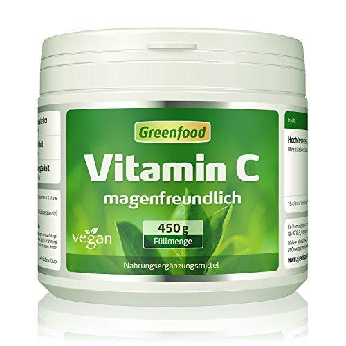 Vitamin C magenfreundlich, 450 g Pulver, gepuffert mit Calcium, vegan – für Immunsystem, schöne Haut, gesunde Gelenke und stabile Knochen. OHNE Gentechnik. Ohne künstliche Zusätze. Ohne Säure.