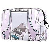 Bolsa Maquillaje Almacenamiento organización Artículos tocador cosméticos Estuche portátil Esquema Conjunto Instrumentos Musicales Piano Harp para Viajes Aire Libre