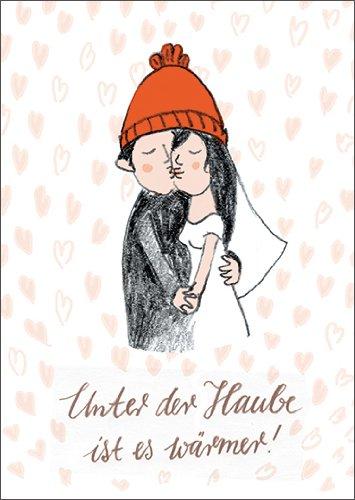 Anja vogel in 5-delige set: schattige wenskaart voor bruiloft met bruidspaar en hartjes: onder de kap is het warmer!