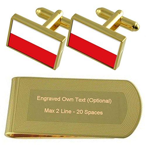Select Gifts Polonia Bandera Tono Oro Gemelos Money Clip Grabado Set de Regalo