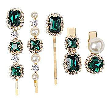 5 Pcs Vintage Hair Clip Pin Pearl Bobby Gold Pins Decorative Green Crystal Clip Hair Accessories for Women Rhinestone Hair Slides Clips Barettes for Hair Styling