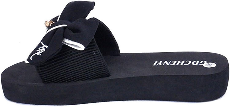 U-MAC Women's Open Toe Knot Bow Slip-On Skid-Proof Flat Slide Sandal Beach Wedge Sandals