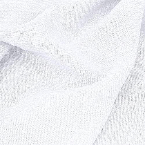 TOLKO 50cm Leinen-Stoff Meterware | blickdicht gewebter Naturstoff | für Sommerkleid, Hose Rock, Bluse, Tuch, Gewänder, Vorhänge, Gardinen und Dekorationen | 140cm breit (Weiß)