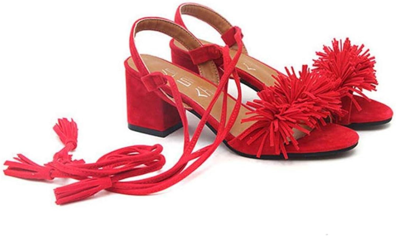 Btrada Female Lace Up Tassel Sandals Thick Heels Fringe Summer Beach Sandals Comfortable Suede Sandals