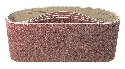 5 Stück Gewebe-Schleifbänder gemischt 100 x 560 mm, für Bandschleifer - 5 Körnungen jeweils 1 x K40/60/80/120/180 / Schleifpapier/Schleif-Mix/Schleifbänder