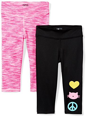 Amazon Brand - Spotted Zebra Kids Girls Active Capri Legging, 2-Pack Icon Print, Large