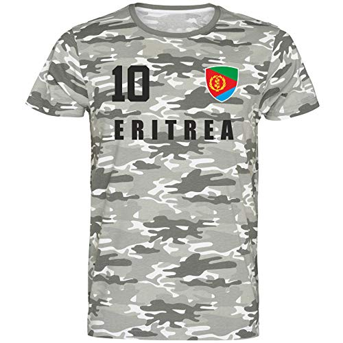 Nation Eritrea T-Shirt Camouflage Trikot Style Nummer 10 Army (XXL)