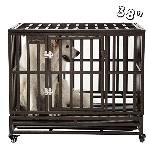"SMONTER 38"" Heavy Duty Strong Metal Dog Cage"