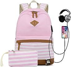 HFY Schulrucksack Mädchen Teenager Canvas Rucksack, Damen Multifunktional Daypacks Laptop Rucksack 15.6 Zoll mit USB Port, für Schulen, Tourismus, Freizeit Pink