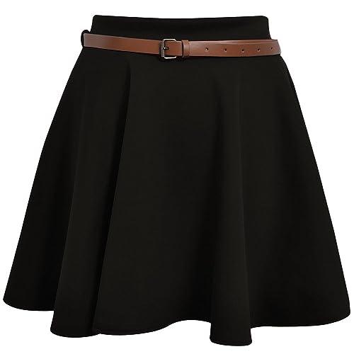 fb582c6db Skater Belted Stretch Waist Plain Flippy Flared Jersey Short Skirt Womens  Size 8-14