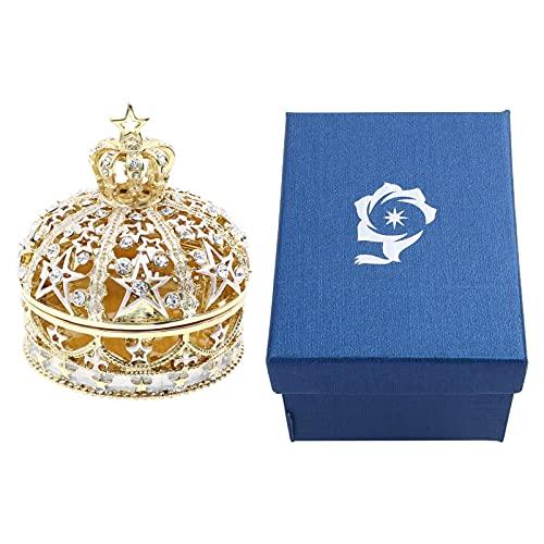 Holibanna Joyero con anillo de corona, con diamantes de plata ornamentada, caja de joyería vintage con cristales elegantes coleccionables y sala de estar decorativa