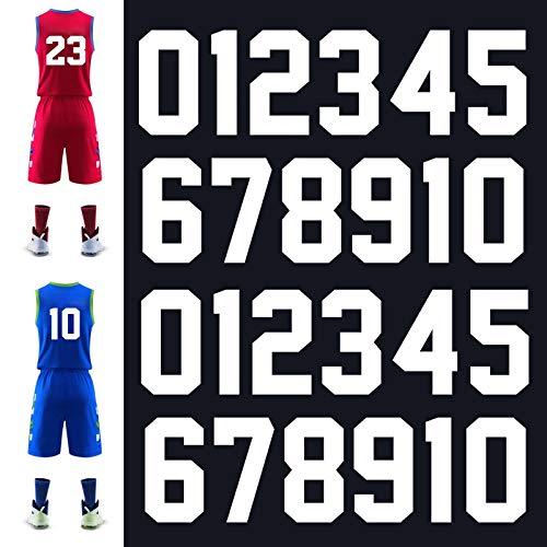 Meetory 24 números de transferencia de calor, 24 unidades, 20,3 cm de alto, pegatinas de números del 0 al 9, para camisetas deportivas, fútbol, béisbol, equipo, color blanco