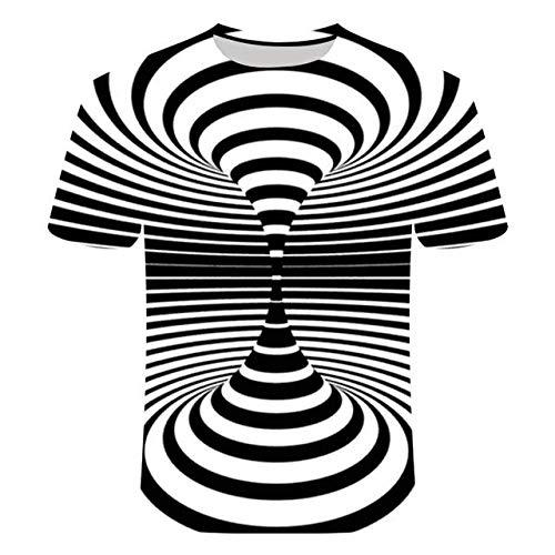 3D T-Shirt,Kreative Round Neck Short Sleeve Tops Neuheit Optische Täuschung Schwindel Druck Harajuku Stil Lässige Atmungsaktive Streetwear Für Frauen Mann Indoor Outdoor Sport, Schwarz Weiß Gest