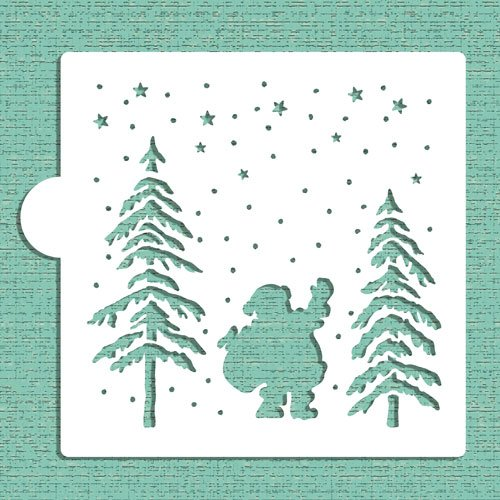 Nighttime Santa Cookie and Craft stencil CM031 by designer Stencils