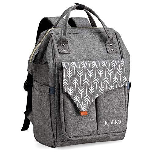 JOSEKO Daypack Damen Schulrucksack, Laptop Rucksack mit USB Ladeanschluss und Laptopfach Stylischer Daypack für Schule Universität Arbeit Freizeit Wandern Reisen Camping(Hellgrau)