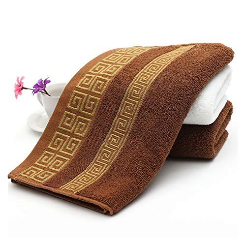 WYFDC Toallas de baño 100% algodón bordadas, toallas de baño de bambú para adultos, marca de lujo, toallas de cara suaves, 35 x 75 cm, juego de toallas (color: marrón, tamaño: L)