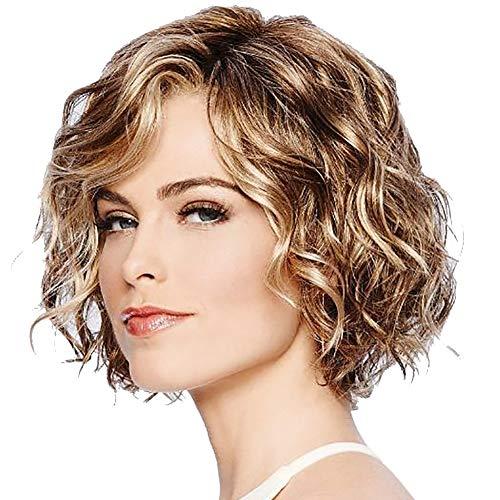 1pc Cabello ondulado pelucas Bob mixto sintético de color marrón corto rizado ondulado peluca de mirada natural de la peluca a prueba de calor para el pelo de la fibra muchachas de las mujeres
