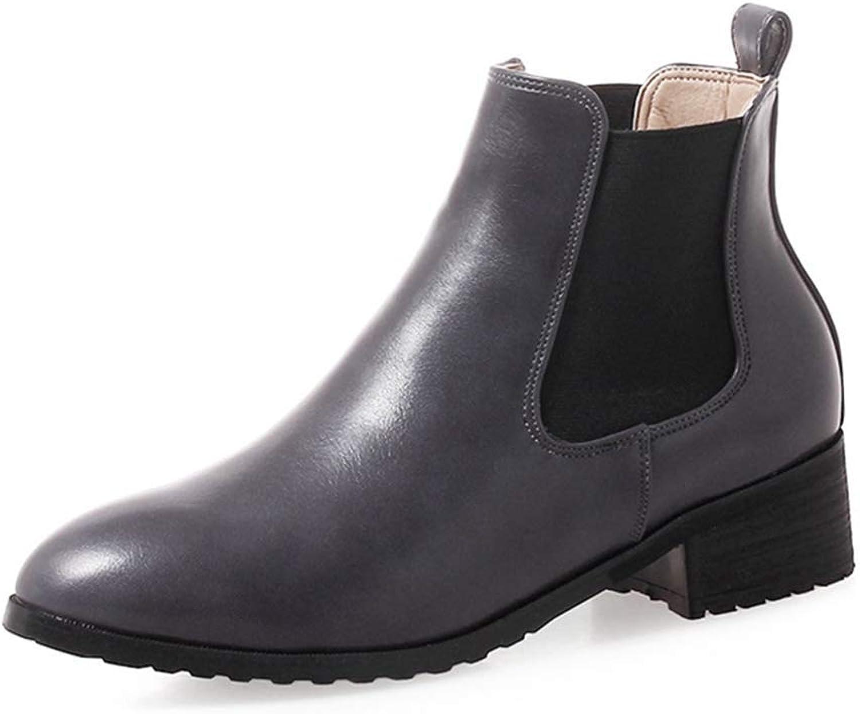 KEREE Women's Round Toe Slip On Ankle Boots Slip On Side Zipper Short Dress shoes Chunky Block Heel Booties
