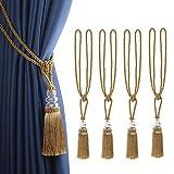 BEL AVENIR - Juego de 4 alzapaños para cortina, borlas hechas a mano, diseño de cuerda de cristal,...