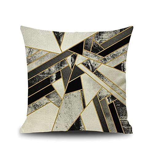 KnBoB Funda Cojin Textura Mármol Geometría Cuadrado 50x50 cm Negro Oro Hecho de Lino Decoración Interiores - Estilo 7