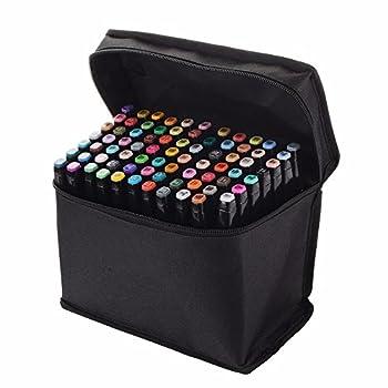 BLACK - 80 Color SET Touch Five Alcohol Graphic Art Twin Tip Pen Marker Broad Fine Point