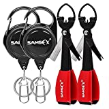 SAMSFX Fly Fishing Knot Tying Tools Quick Knot Tool for Fishing Hooks, Lures, Flies, Trout Line Backing, Come with Zinger Retractors