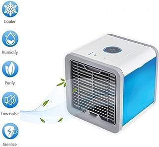 Móvil de aire acondicionado, refrigerador de aire, humidificador de escritorio, ventilador caliente portátil personal, una función de luces de 7 colores, carga por USB, purificador de aire de 3 veloci