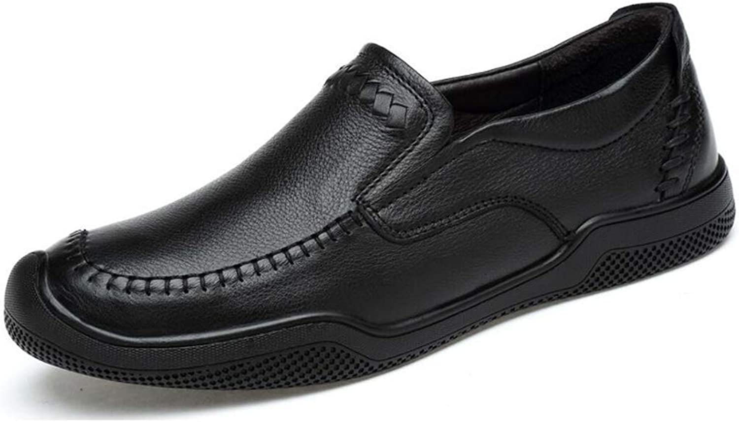 Men's shoes, Casual Flat Loafers Fashion Slip on Driving shoes, Spring Autumn Casual Business Leather shoes, Lazy Black shoes (color   Black, Size   38)
