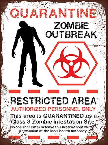 RABEAN Zombie Blechschilder Aluminium Schilder Eisen Malerei Blech Plakat Warnung Plakette hängende Kunst Plakate Dekorative Cafe Bar
