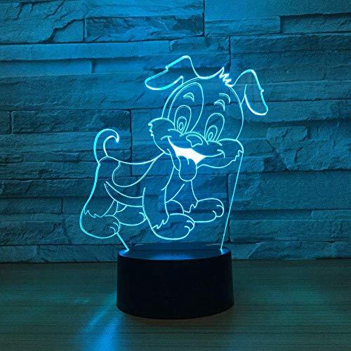 Cute Dog 3D Led Optical Illusion Smart Night Light, 7 colores que cambian USB Power Touch Switch Decoración Lámpara Mesita de noche Lámpara de escritorio Brithday Christmas Gift para niños
