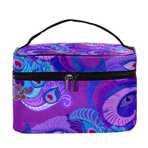 Violet Purple Peacock Feathers Pattern Travel Makeup Bag Large Cosmetic Bag Makeup Case Organizer Zipper Toiletry Bags for Women Girls