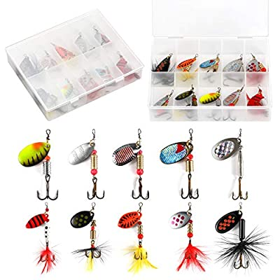 Magreel Fishing Lures Spinners Baits Spinnerbait Spoon Set with Tackle Bag Trout Bass Salmon Pike Walleye Perch 10pcs/16pcs