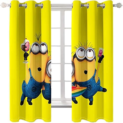 Baryy Minions 3D Digitaldruck Gardinen Verdunkelungsvorhang Blickdicht - Gardinen Thermogardinen Geräuschreduzierung Vorhang mit Ösen für Schlafzimmer Kinderzimmer, 2 x 85 x 200cm