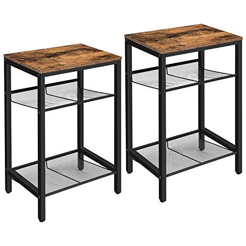 HOOBRO Telefontisch, 2er-Set Beistelltisch Vintage, Sofatisch mit 2 verstellbaren Gitterböden, kleine Kaffeetisch, hoch und schmal, einfach zu Montieren, Tisch für Wohnzimmer, Dunkelbraun EBF01DHP201