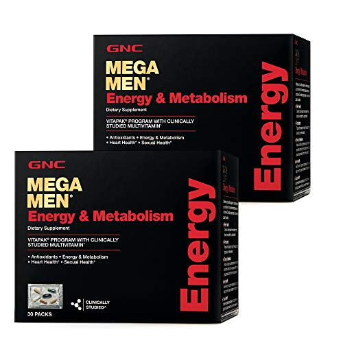 GNC Mega Men Energy & Metabolism Vitapak, Twin Pack, 30 Packs per Box, Promotes Energy, Heart Health and Sexual Health