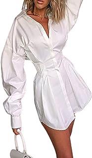 WangsCanis moda donna camicie dress slim top t-shirt mini abito ufficio ladyelegant bianco a pieghe scollo a v manica lung...