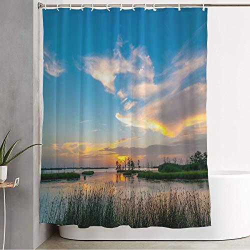 Starowas Bathroom Fabric Shower Curtain with Hooks Lake Grass South Sunset Yellow Orange Blues Louisiana Swamp White Blue Nature Parks Outdoor Summer Bathroom Accessories Waterproof 72 x 78 Inch