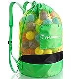 Strandspielzeug Große Netztasche Sandspielzeug Strandtasche Drawstring Rucksack Wasserspielzeug Schultergurt für Jungen Mädchen Erwachsene mit Seitentasche, Spielwaren Nicht eingeschlossen (Grün)