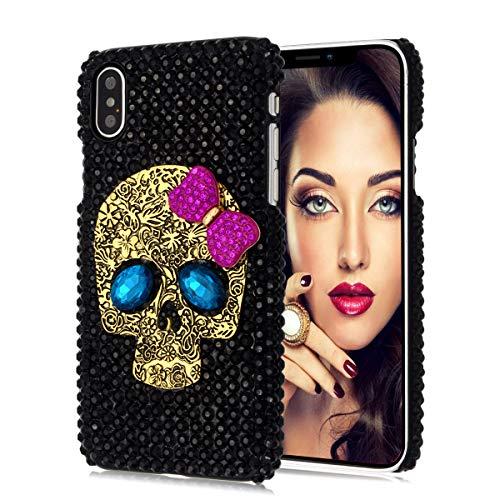 Jesiya for iPhone Xs Max Skull Case, Luxury 3D Shiny Crystal Sparkle Rhinestone Metal Crossbones/Skull Head Back Ultra Thin Hard PC Bling Diamond Glitter Case for iPhone Xs Max