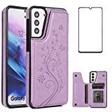 Phone Case for Samsung Galaxy S21 Glaxay S 21 5G 6.2 inch with Tempered Glass Screen Protector and Card Holder Wallet Cover Stand Flip Leather Cell Accessories Gaxaly 21S G5 Cases Women Girl Purple